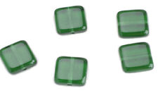 25 Green Emerald Chicklet Square Glass Beads 8MM