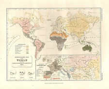 1850 HAND COLOURED MAP ~ WORLD & EUROPE ETHNOGRAPHIC  DISTRIBUTION RACES of MAN