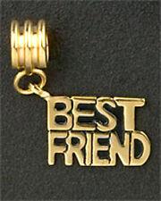 European Bead BEST FRIEND Charm Bracelet Family Gold Plated Stainless Steel Gift