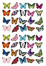 40 butterflies butterfly cake toppers decorations edible approx 4cm wide mixed