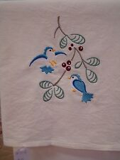 ~ Set of 2 Birds and Berries Embroidered Floursack Kitchen Towels