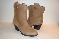 Bandolino Womens Zephy Ankle Tan Leather Boots Shoes 5.5 Med Display Model