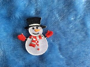 100% EXQUISITE EMBROIDERY IRON ON FROSTY THE SNOWMAN PATCH XMAS CHRISTMAS PATCH