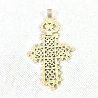 """EASTERN ORTHODOX METAL HAND MADE CROSS PENDANT HINGED FROM MIDDLE EAST 3.5"""" HIGH"""