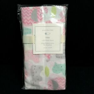Pottery Barn Baby Remy Fitted Sheet Animals Elephant Giraffe Pink Blue Gray