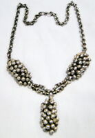 Old silver necklace ethnic tribal antique choker pendant 9707