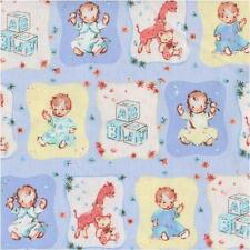NURSERY BABIES BLOCKS BLUE VINTAGE STYLE Cotton Fabric BTY Quilting Craft Etc