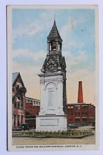Old postcard CLOCK TOWER AND SOLDIERS MEMORIAL, CORNING, N.Y., 1920