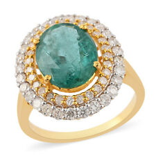 ILIANA 18K Yellow Gold AAA Emerald Diamond Halo Ring Size 7 Ct 3.6 H Color Si1