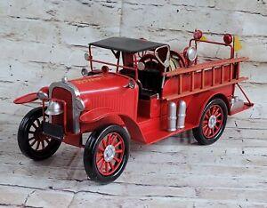 Vintage SO Prairie Fire Truck Tinplate Metal Classic Hot Cast Artwork Sculpture