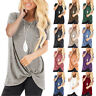 Womens Ladies Twisted Tee Holiday Basic Shirt Blouse Sweatshirt Loose Pure Tops