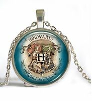 Silver Cabochon Glass Hogwarts Slytherin Crest Harry Potter Pendant Necklace -8