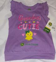"JOHN DEERE Toddler Farm Girls "" Grandpa's Cutie "" Easter Shirt Top Sz 3T ~ NWT"