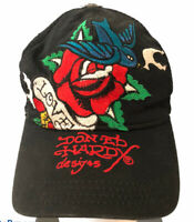 DON ED HARDY DESIGNS Trucker Cap Mesh Snapback Black Love Rose Hummingbird
