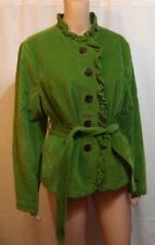 LL Bean Women's Green Corduroy Button Front Jacket with Ruffles - Size 14P