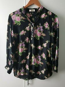 Pret A Porter Size 14 Black Floral Shirt Runs Small Vintage Long Sleeve Collared