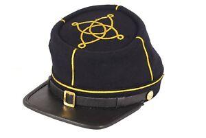 Civil War Union Leather Peak 1st Or 2nd Lieutenant's Kepi, Navy blue 1 gold row