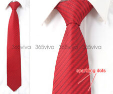 Dark Red Stripe Sparkling Dot Men Necktie 100% Woven Silk 8 cm Wedding Tie