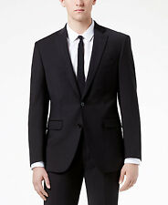 $845 CALVIN KLEIN men BLACK SLIM-FIT 2 PIECE SUIT WOOL JACKET PANTS BLAZER 38 R
