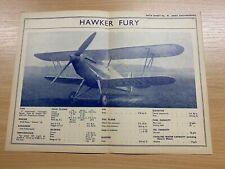 HAWKER FURY - 1930s AERO ENGINEERING #48 DATA SHEET