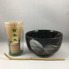 Japanese Matcha Bowl Cup Arahake Spoon w/ 100 Count Whisk Tea Ceremony Gift Set