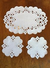 Beautiful Vintage  Cutwork And Embroidery Linen Duchess Set/ Doily Set Table