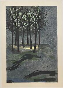 Original TAMAMI SHIMA 'Yushu no Hayashi' Withered Forest SIGNED WOODBLOCK Print