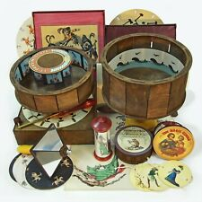 Big animation toys set. Praxinoscope Zoetrope Thaumatropes Phenakistiscope and