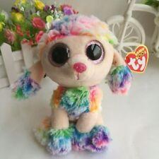 "6"" Poodle Dog Rainbow Ty Beanie Boos NEW 2017 Plush Stuffed Animals Girl Toys"