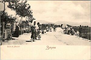 SMYRNE TURKEY ROUTE DE MERSINLI STREET SCENE OLD UNDIVIDED BACK POSTCARD