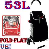 NEW EAGLE 53L LIGHT WEIGHT 2 WHEEL SHOPPING TROLLEY CART FOLDFLAT BAG BLACK