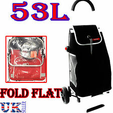 NEW EAGLE 53L LIGHT WEIGHT 2 WHEEL SHOPPING TROLLEY CART FOLDFLAT BAG BLACK