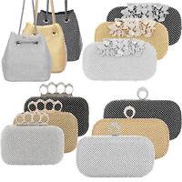 Women's Evening Bag Full Rhinestone Crystal Bucket Bag Shining Crossbody Handbag