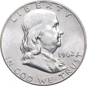 Choice Uncirculated BU MS 1962 Franklin Half Dollar 90% Silver Tough Coin! *671