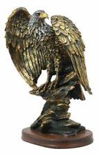 "Ebros 10.25"" Tall Patriotic Bald Eagle on Rocks Statue Wild Bird Decorative Bron"