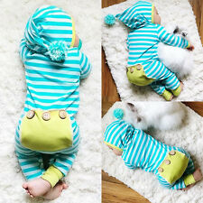 US Stock Newborn Baby Boy Girl Striped Romper Bodysuit Jumpsuit Outfits 3-6M 03
