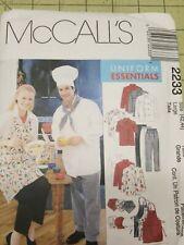 McCalls Pattern 2233 Unisex Uniforms Apron Jacket Chef Hat Pants Size L 42 44 Ff