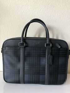 COACH PERRY SLIM LAPTOP BUSINESS BRIEFCASE w/ STRAP - BLUE TWILL PLAID F37808