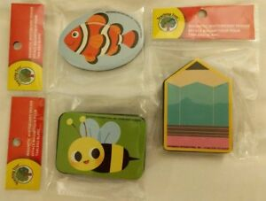 3-Magnetic Whiteboard Erasers, Pencil, Fish, Bee, Classroom Accessory