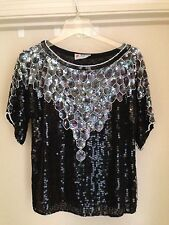 Lucywear Can Cun Black/Silver Beaded Sequined Short Sleeve Lined Top, Size S
