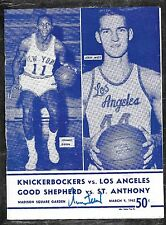 3-9-62 KNICKS VS LAKERS PROGRAM SIGNED JERRY WEST COVER