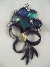 Huge Avon black metal bow brooch large rhinestones blue, green yellow, black etc