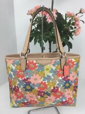 Coach MINI Tote Bag  F51596 Daisy Floral Purse Tan Leather Flowers B2W