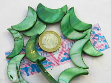 1 filo di madreperle naturali forma di luna 30x18mm tinte colori ceramici verde