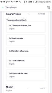 Tainted Grail King's Pledge Kickstarter plus Extras; Unopened Case!