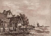 FISHING BOATS SEASCAPE Victorian Watercolour Painting c1840
