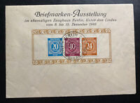 1946 Berlin Germany Postwar First Day Cover FDC Philatelic Exhibition