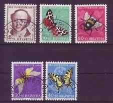 Echte gestempelte Briefmarken aus der Schweiz mit Insekten-Motiv