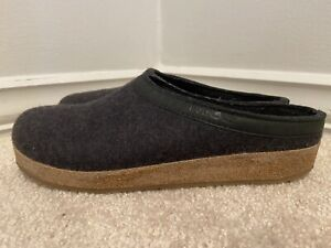 Haflinger Charcoal Gray Wool Grizzly Slippers Clogs Size 42 (10 US)