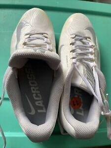 Nike SpeedLax Lacrosse Turf CleatsWomens White Wolf Gray 807157-100 Sz 11 new